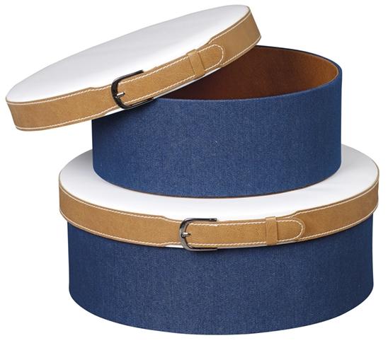 grande boite chapeau en carton avec tissu jean et simili cuir blanc 33x12 cm. Black Bedroom Furniture Sets. Home Design Ideas