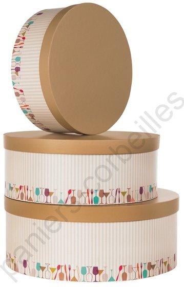 grande boite chapeau beige et marron en carton avec. Black Bedroom Furniture Sets. Home Design Ideas