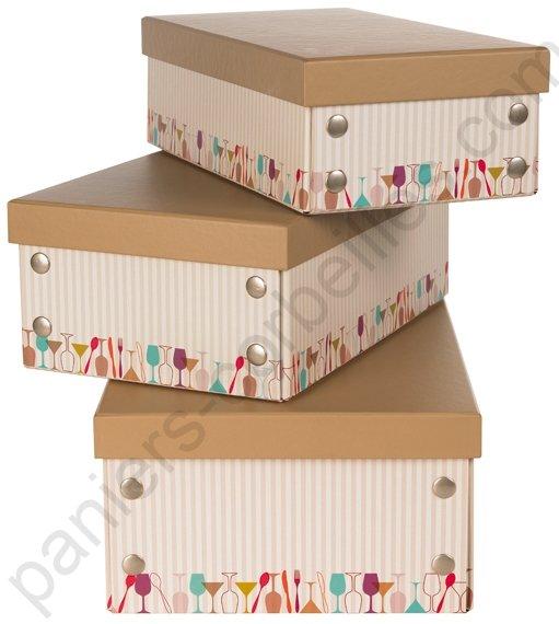 petite boite beige et marron en carton avec d cor f tes repr sent par une frise multi. Black Bedroom Furniture Sets. Home Design Ideas