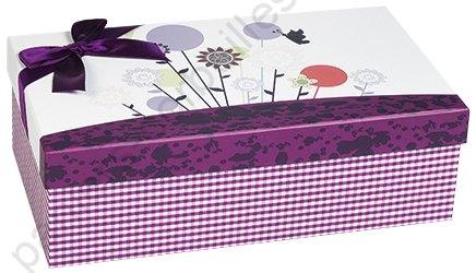grande boite en carton d cor vichy violet cm. Black Bedroom Furniture Sets. Home Design Ideas