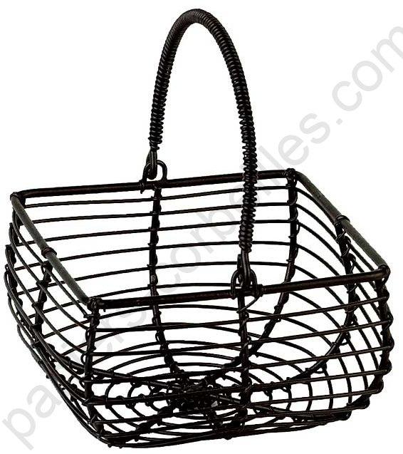 mini panier en fil de m tal noir avec anse mobile 11x11x6 cm. Black Bedroom Furniture Sets. Home Design Ideas