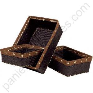 corbeille rectangulaire marron en jonc de mer bordure toile de jute chocolat 26x20x8 cm. Black Bedroom Furniture Sets. Home Design Ideas