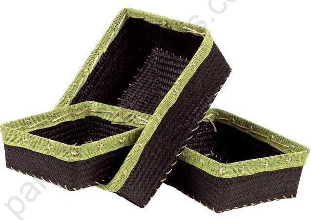 corbeille rectangulaire marron en jonc de mer bordure toile de jute vert anis 26x20x8 cm. Black Bedroom Furniture Sets. Home Design Ideas