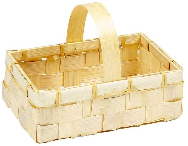 mini panier rectangulaire en bambou naturel tress 18x12x6 13 cm. Black Bedroom Furniture Sets. Home Design Ideas