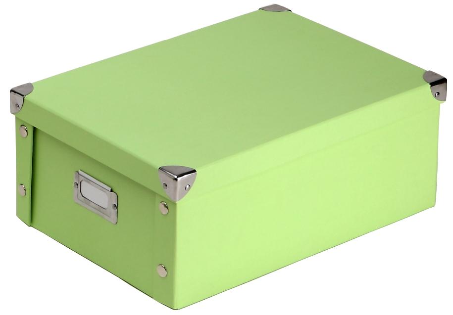 boite en carton vert d 39 eau livr e plat avec couvercle coins m tal 35x25x14 cm. Black Bedroom Furniture Sets. Home Design Ideas