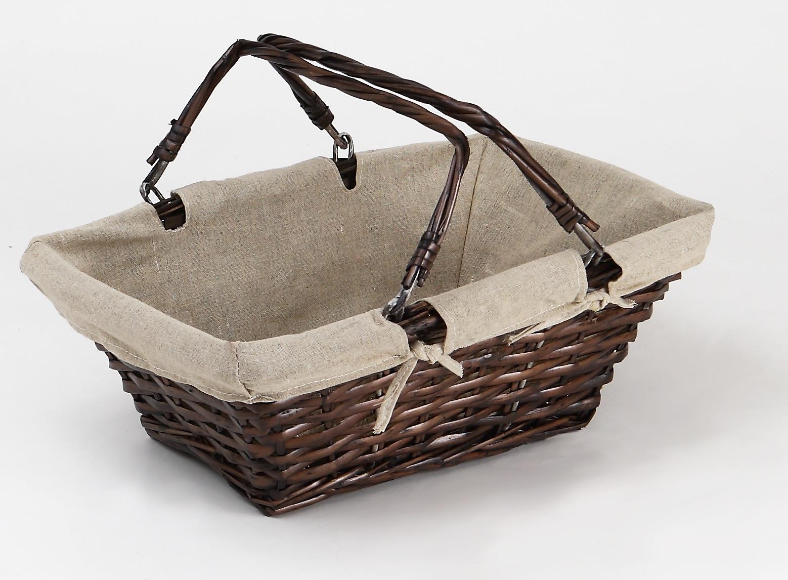 panier ovale rectangulaire en osier et bois marron. Black Bedroom Furniture Sets. Home Design Ideas