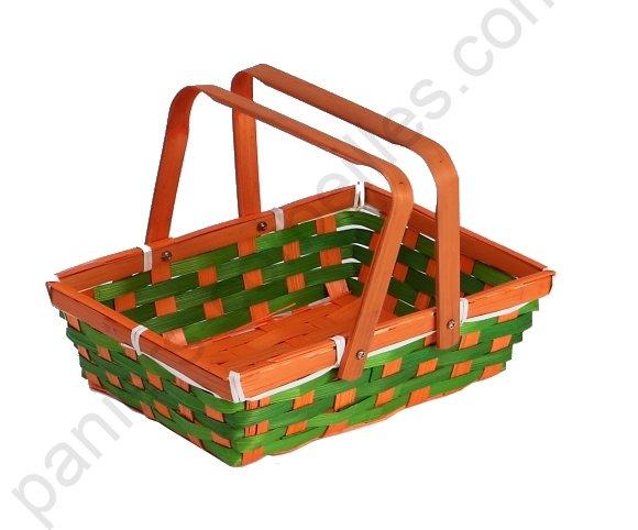 petit panier rectangulaire en bambou tress vert et orange anses rabattables 24x17x7 cm. Black Bedroom Furniture Sets. Home Design Ideas