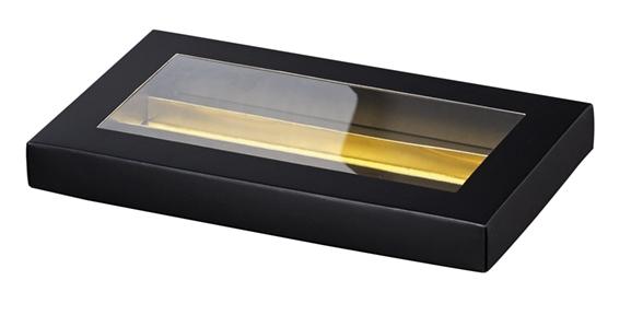 Coffret chocolat rectangle en carton noir avec fen tre pvc for Fenetre rectangle