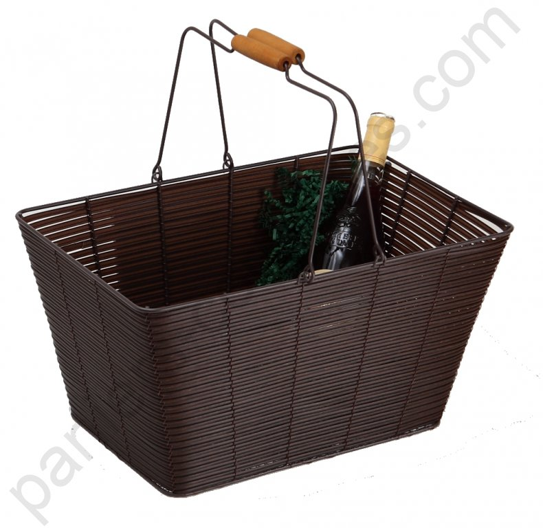 grand panier rectangulaire chocolat en m tal empilable. Black Bedroom Furniture Sets. Home Design Ideas