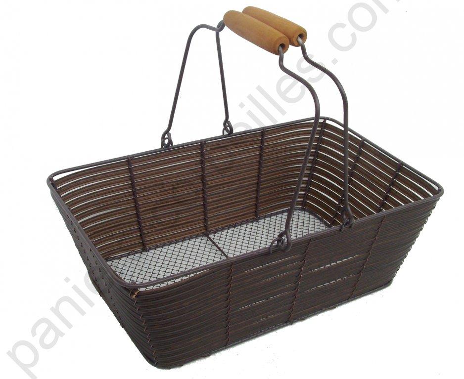 panier rectangulaire chocolat en m tal empilable anse rabattables 34x20x11 cm. Black Bedroom Furniture Sets. Home Design Ideas