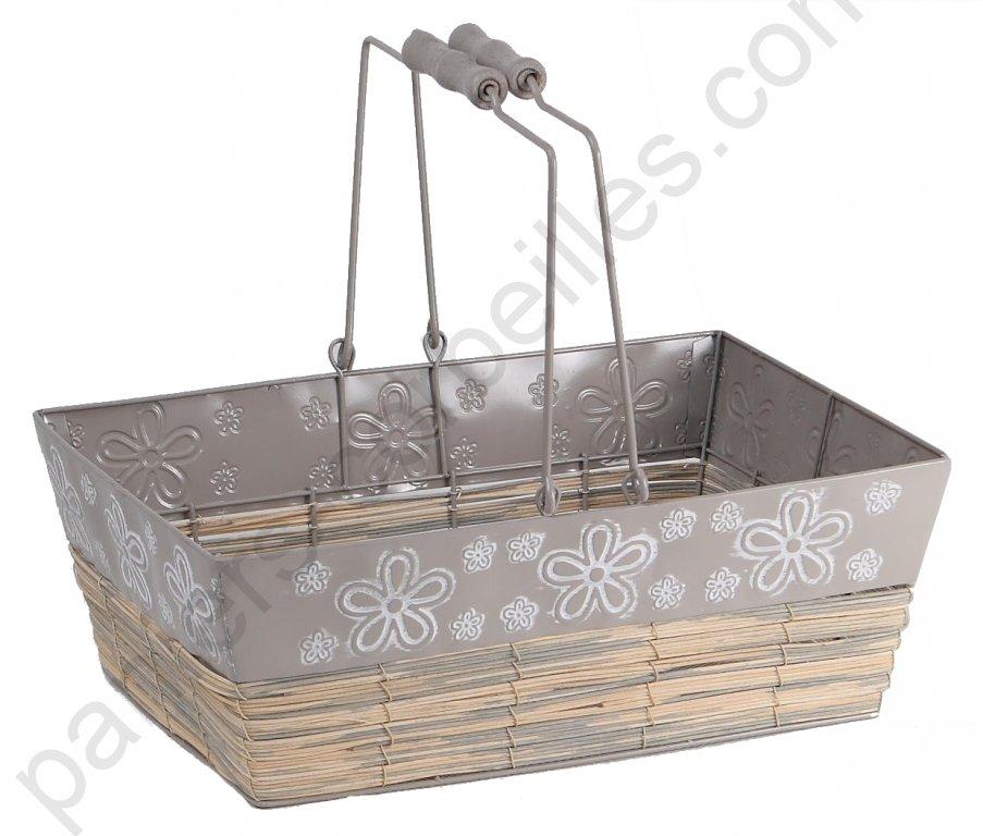 panier rectangle en m tal et rotin gris decor fleurs. Black Bedroom Furniture Sets. Home Design Ideas