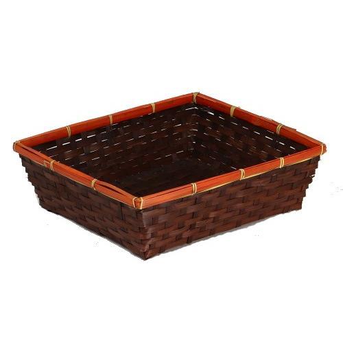 Très grande corbeille rectangulaire en bambou chocolat et
