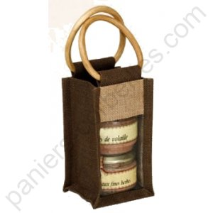 Sac en toile de jute marron, 1 compartiment 10x10x18/28 cm