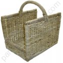 Panier à bois rectangle en rotin gris 50x37 h31-49 cm
