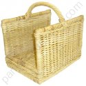 Panier à bois rectangle en rotin naturel  50x37 h31-49 cm