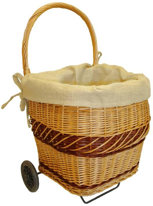 Chariot bois en osier buff teint demi rond doubl toile de jute d montable - Chariot pour bois de cheminee ...