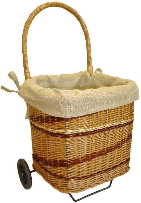 Chariot bois en osier buff teint carr doubl toile jute d montable - Chariot pour bois de cheminee ...