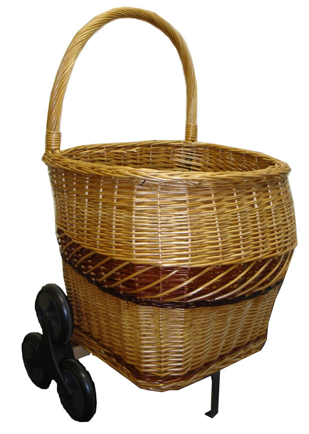 Chariot bois en osier bicolore pour monter les escaliers demi rond - Chariot pour bois de cheminee ...