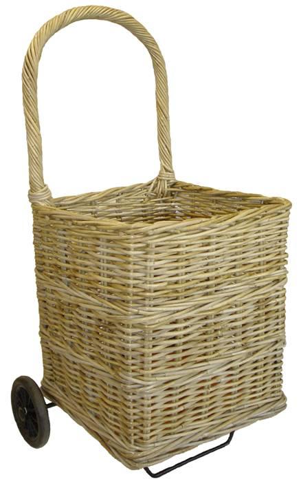 Chariot bois en rotin naturel carr - Chariot pour bois de cheminee ...