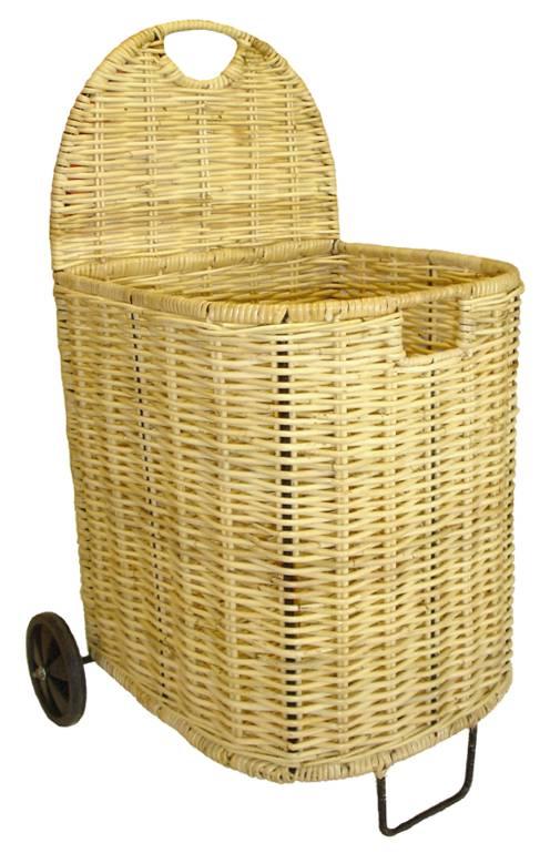 chariot bois en rotin naturel et m tal. Black Bedroom Furniture Sets. Home Design Ideas