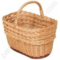 Panier de courses rectangle haut lacerie en osier buff 43x27 h25-41 cm