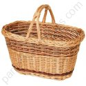 Panier de courses rectangle en osier buff double anses 44x27 h25-37 cm