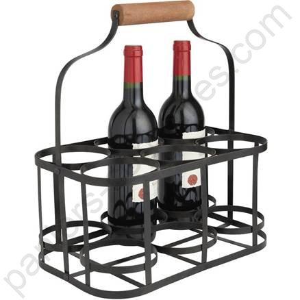 panier porte bouteilles en m tal noir et bois pour 6. Black Bedroom Furniture Sets. Home Design Ideas
