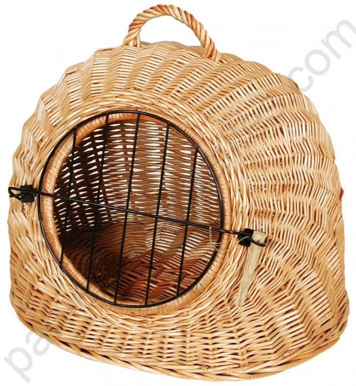 Panier boule de transport pour animaux en osier buff - Panier osier pour chien ...