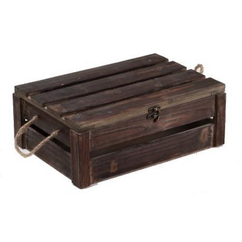 Petit coffre en bois patiné ajouré avec poignées en corde 35x25x13  ~ Petit Coffret En Bois