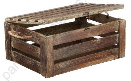 Corde De Bois Et Stere : coffre en bois patin? ajour? avec poign?es en corde 40x30x18 cm
