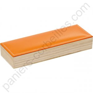 Coffret rectangle en bois avec couvercle en simili-cuir orange 23.5x8.1x3.9 cm