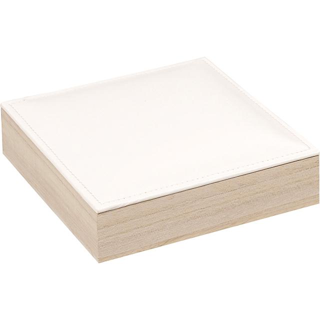 Petit coffret carré en bois avec couvercle en similicuir  ~ Petit Coffret Bois