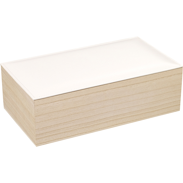 coffret rectangle en bois avec couvercle en simili cuir