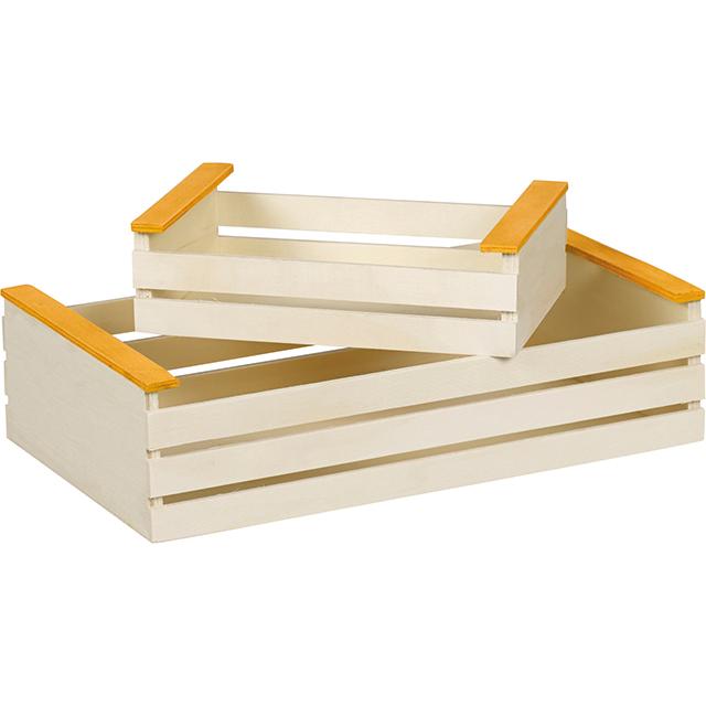Mini cagette en bois, coloris naturel et orange 17x11x5 cm  ~ Mini Cagette En Bois