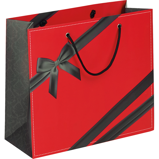 sac cadeau en papier pais rouge d cor noeud noir 25x10x22 cm. Black Bedroom Furniture Sets. Home Design Ideas