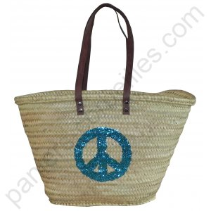 "Panier de plage ""Peace and Love"" anses en cuir 55x33x30 cm"