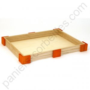 Corbeille rectangle plate en bois de paulownia angles orange 35.5x27x3.5  cm