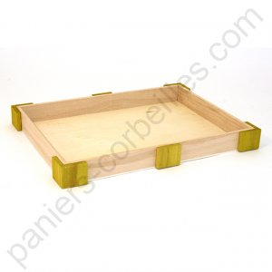 Corbeille rectangle plate en bois de paulownia angles vert anis 35.5x27x3.5  cm