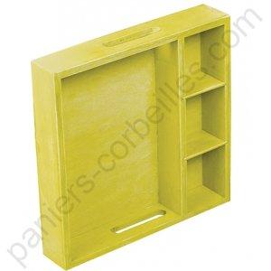petit plateau carr vert anis en bois avec compartiments fixes. Black Bedroom Furniture Sets. Home Design Ideas