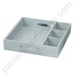 petit plateau carr gris en bois avec compartiments fixes. Black Bedroom Furniture Sets. Home Design Ideas