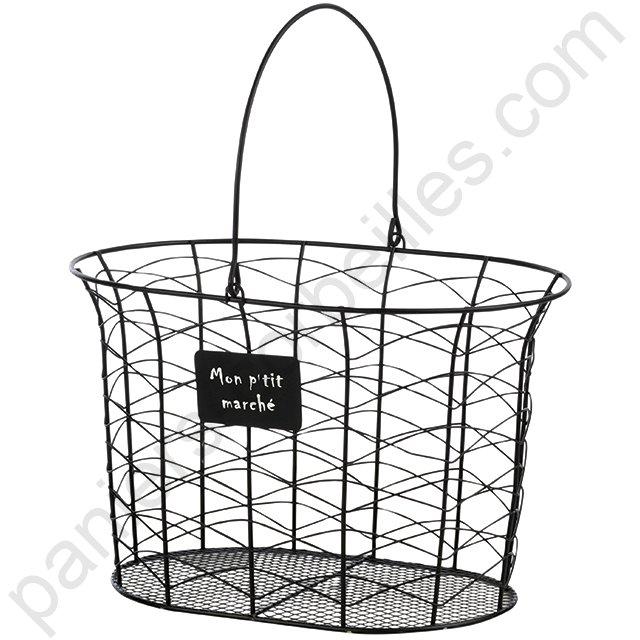 panier haut ovale en m tal noir avec plaque mon p 39 tit march. Black Bedroom Furniture Sets. Home Design Ideas