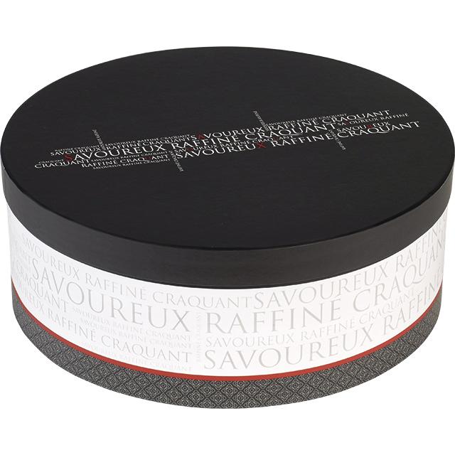 grande boite chapeau grise noire rouge et blanche 34x13 cm. Black Bedroom Furniture Sets. Home Design Ideas