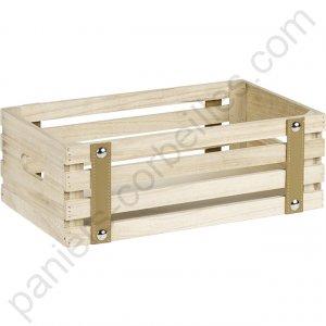 petite caisse en bois clair vieilli orn e de sangle marron. Black Bedroom Furniture Sets. Home Design Ideas