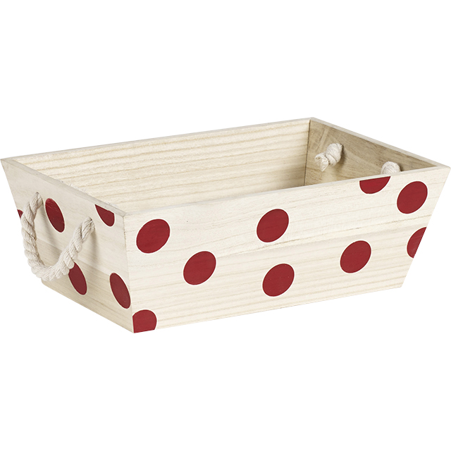 corbeille en bois de pauwlonia avec d cor pois rouge. Black Bedroom Furniture Sets. Home Design Ideas