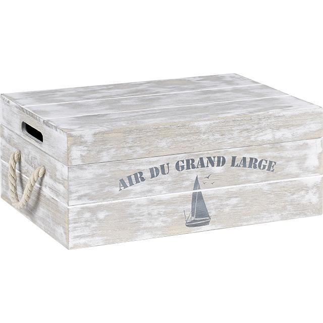 grande caisse en bois blanc vieilli d cor air du grand. Black Bedroom Furniture Sets. Home Design Ideas