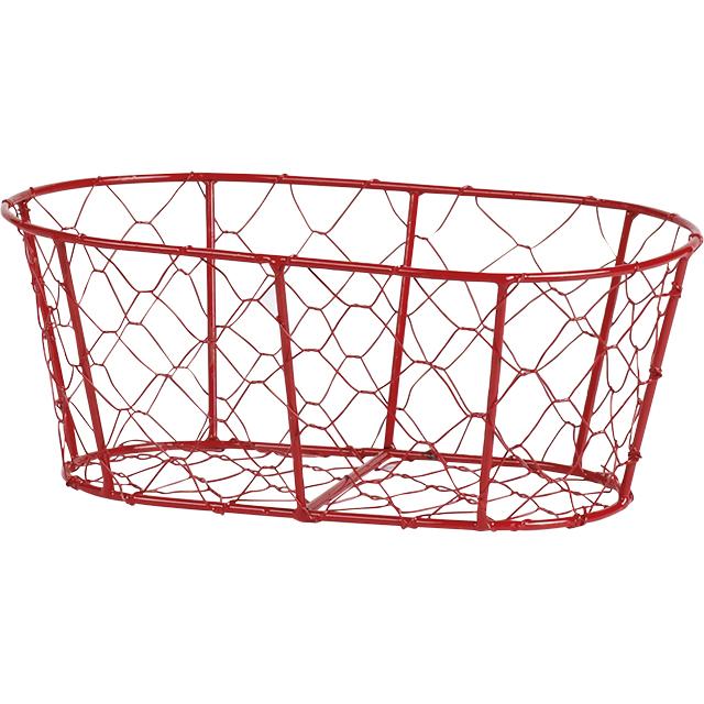 petit corbeille ovale en fil de m tal et grillage rouge 27x16x9 cm. Black Bedroom Furniture Sets. Home Design Ideas