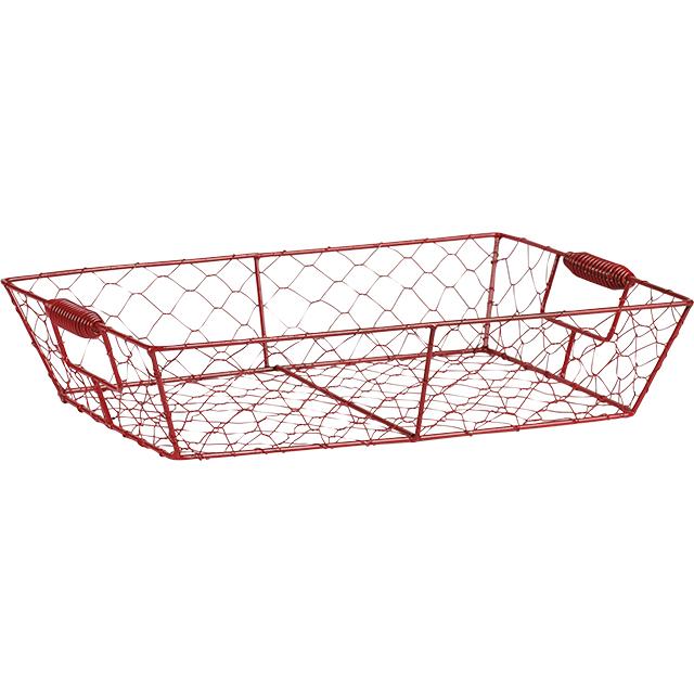 grande corbeille rectangulaire en fil de m tal et grillage rouge 35x25x8 cm. Black Bedroom Furniture Sets. Home Design Ideas