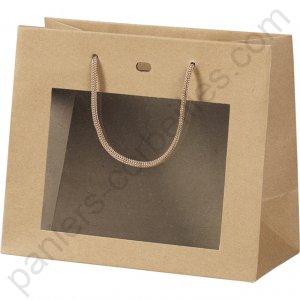 sac fen tre en papier kraft pais avec cordelette de portage 25x10x22 cm. Black Bedroom Furniture Sets. Home Design Ideas