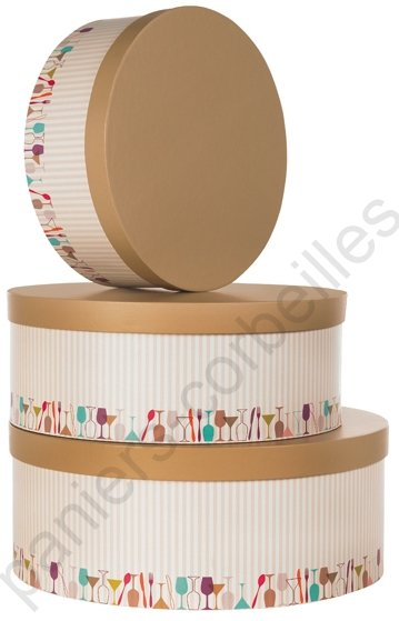 grande boite chapeau beige et marron en carton avec d cor f tes repr sent par une frise. Black Bedroom Furniture Sets. Home Design Ideas