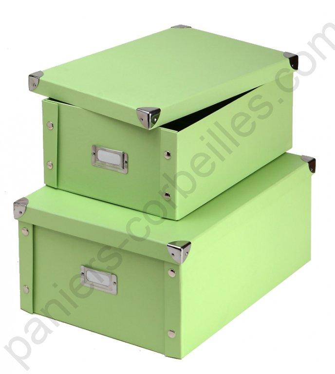 grande boite en carton vert d 39 eau livr e plat avec couvercle coins m tal 35x25x14 cm. Black Bedroom Furniture Sets. Home Design Ideas